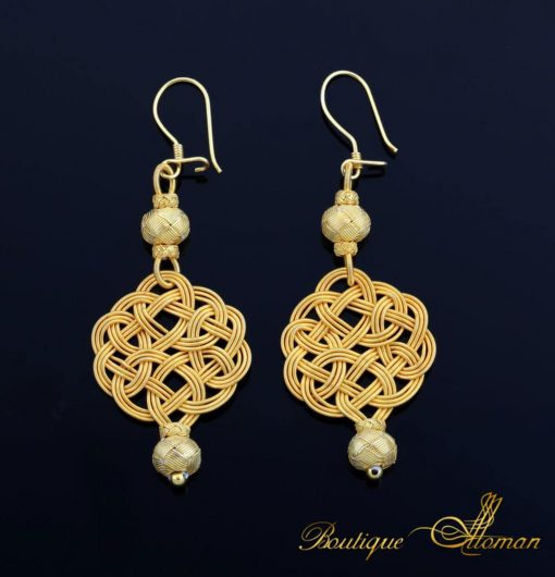 Kazaz hand made golden earrings with special Turkish jewellery technique