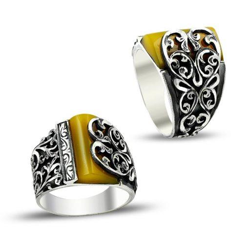 Hand Made Silver Man Ring Half Amber Ivy