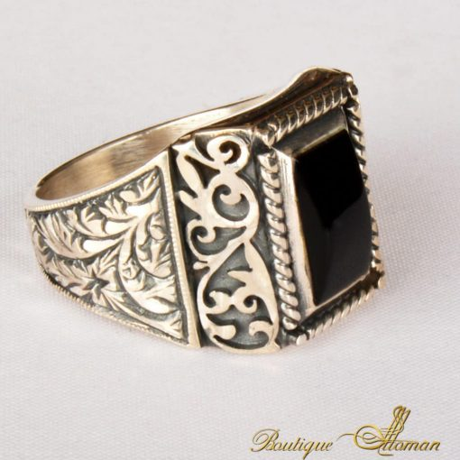 Hand Made Silver Man Ring Silver Black Rectangle Cave