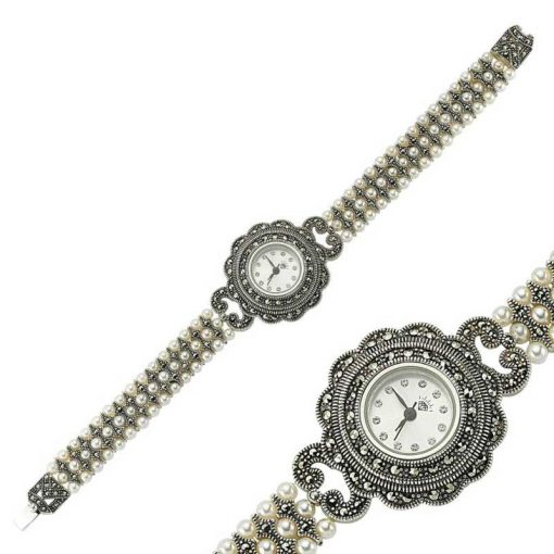 Hand Made Queen Pearl Silver Watch