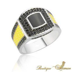 yellow onyx men ring