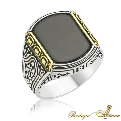 Black Onyx Silver Men Ring