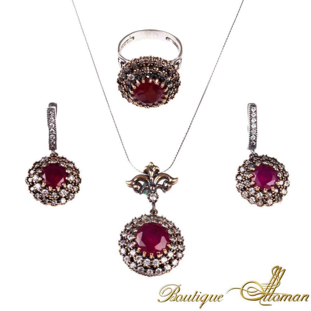 Ruby stone silver set classic jewelry from istanbul ruby stone silver set aloadofball Images