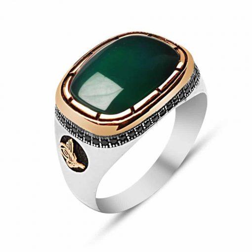Ala Collection Green Aqeeq Men Ring