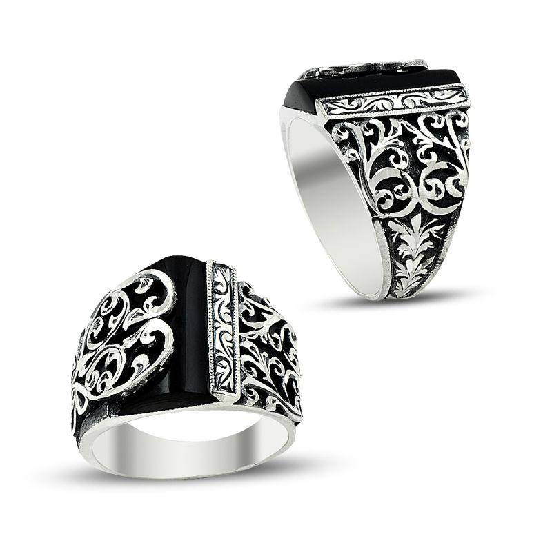Black stone handmade ring