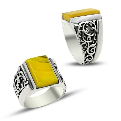 yellow amber handmade men ring