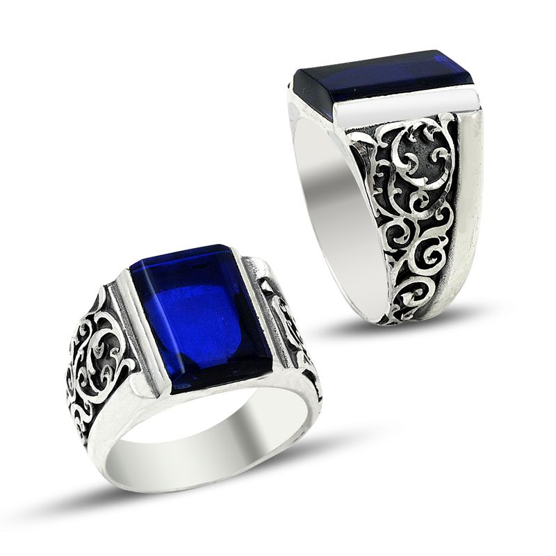 mens blue stone ring  eBay