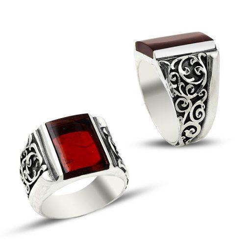 red amber silver men ring