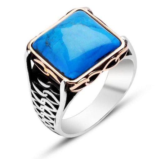Turquoise Silver Men Ring