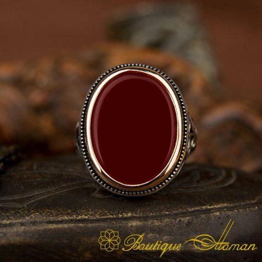 Classic Aqeeq Silver Ring 2