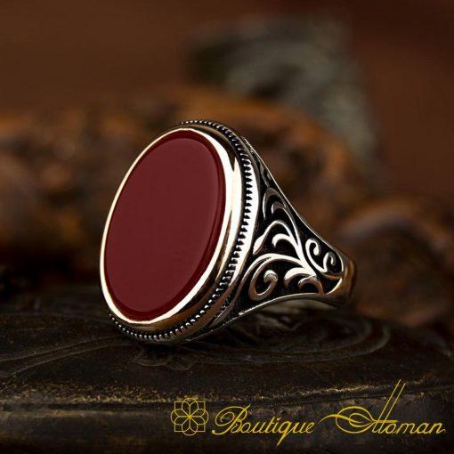 Classic Aqeeq Silver Ring 3