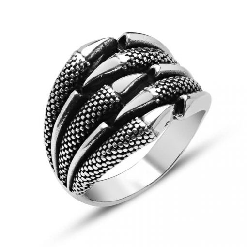 Eagle Claw Design Silver Men Ring