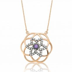 Flower Of Life Purple Star Pendant