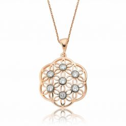 Flower Of Life Rose Swarovski Pendant