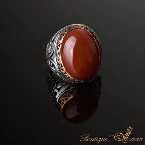 Oval Aqeeq Stone Silver Ring