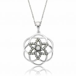 flower of life Star Silver Pendant