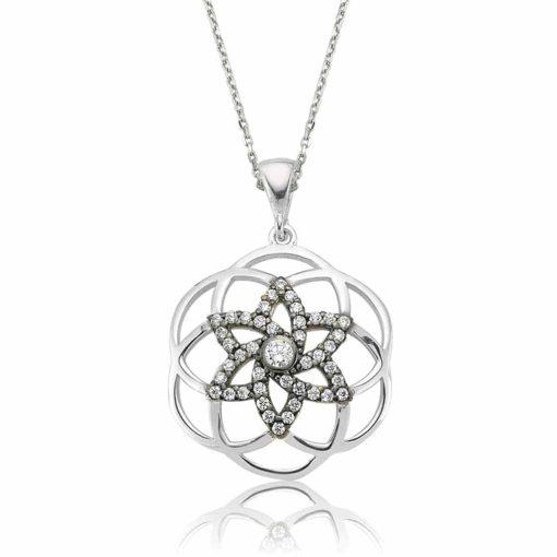 flower of life Star Silver Pendant
