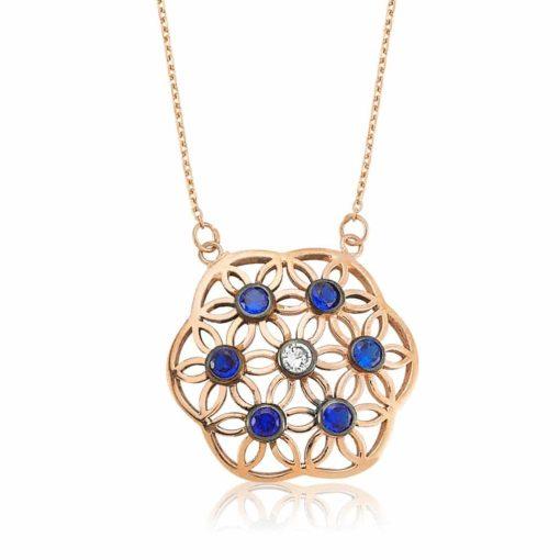 flower of life blue pendant