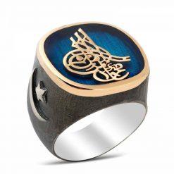 Tugra Blue Silver Men Ring
