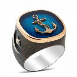 Anchor Silver Men Ring