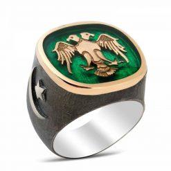 Double Head Hawk Silver Men Ring