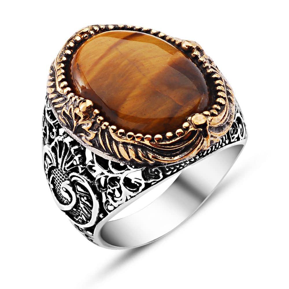 Mens Gold Tiger Eye Ring