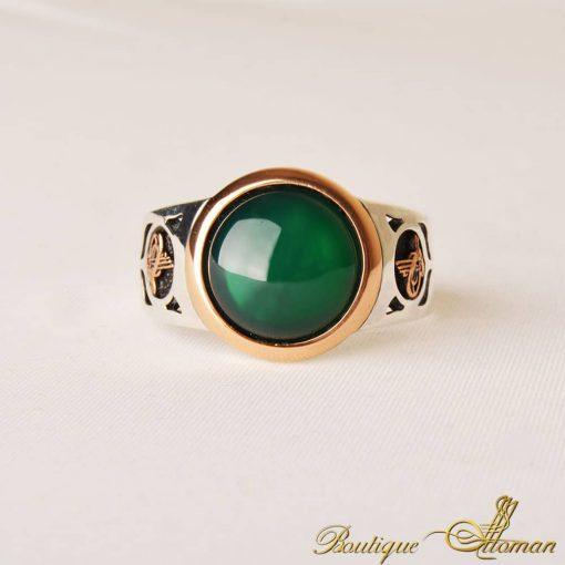 Green Aqeeq Men Ring