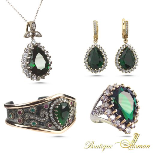 Hurrem Sultan Jewelry Set Emerald Made in Istanbul, Turkey by Boutique Ottoman Exclusive Shop