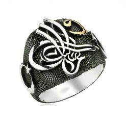 Crescent Tugra Black silver Ring