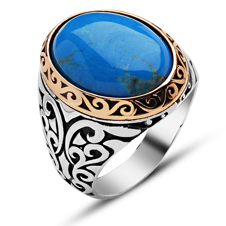 Oval Feroza Stone Silver Ring - Boutique Ottoman Jewelry Store