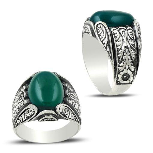 Hand Made Green Aqeeq Ring