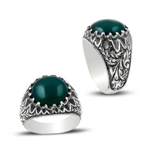Silver Green Aqeeq Men Ring