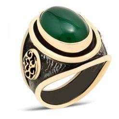 Green Aqeeq Designer Silver Men Ring
