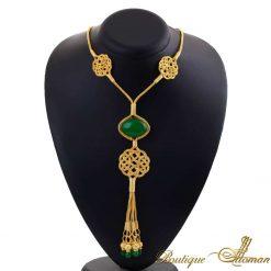 1000 carat silver golden silver huyam sultana emerald kazaz necklace