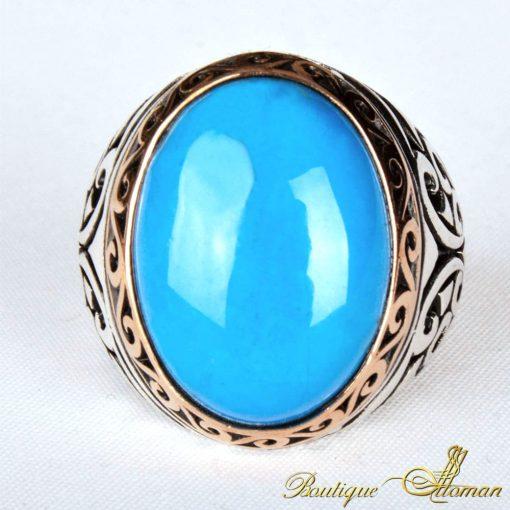 Oval Feroza Stone Silver Ring