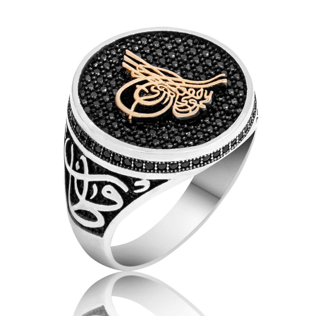 Black Swarovski Ottoman Tugra Ring Boutique Ottoman