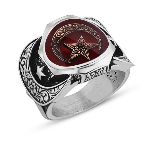 Double Crescent Silver Men Ring Red Moon