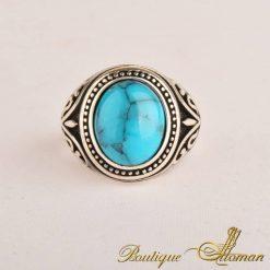Round Turquoise Ferooza Men Ring