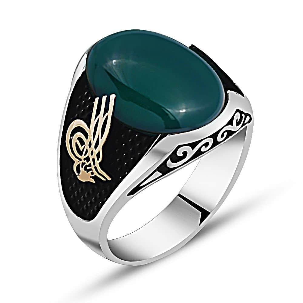 f6322e9325 Oval Green Agate Stone Silver Ring