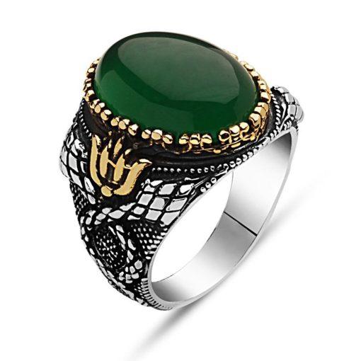 Green Aqeeq Stone Silver Men Ring