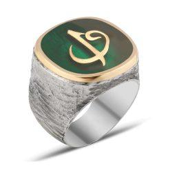 Green Mina Elif Vav Silver Men Ring
