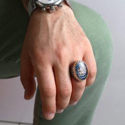"""Kefâ bil-mevt vaizan"" Blue Mina Silver Ring"