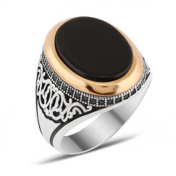 Zircon and Onyx Stone Silver Men Ring