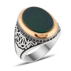 Zircon and Green Aqeeq Silver Men Ring