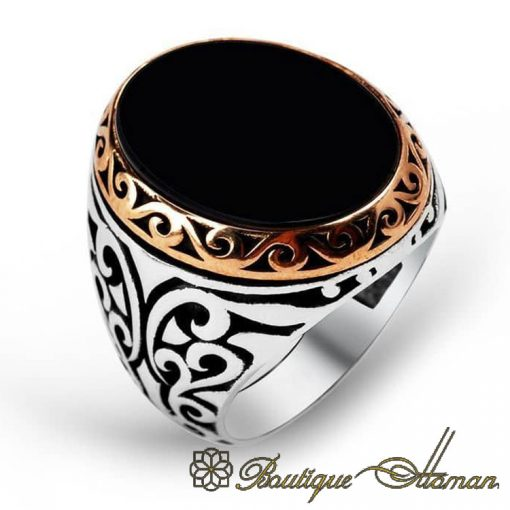 Classic Flat Onyx Black Aqeeq Silver Men Rings