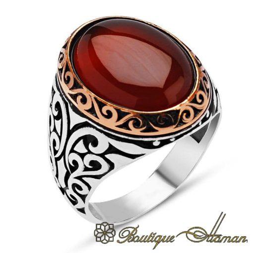 Classic Red Aqeeq Silver Men Rings