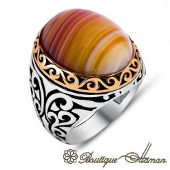 Classic Stripped Aqeeq Orange Silver Men Rings