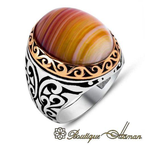 Classic Stripped Aqeeq Orange Silver Men Rings