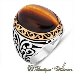 Classic Tiger s Eye Silver Men Rings