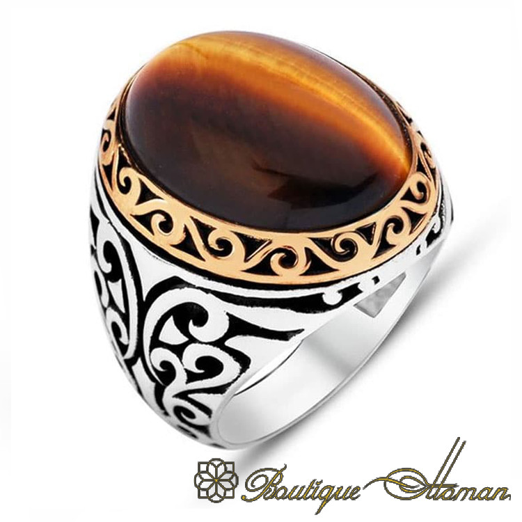 Falcon Jewelry Antique Sterling Silver Men Ring Created Amber Stone